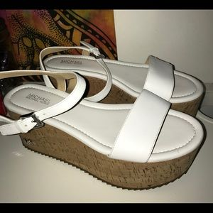 White Michael Kors platform sandals